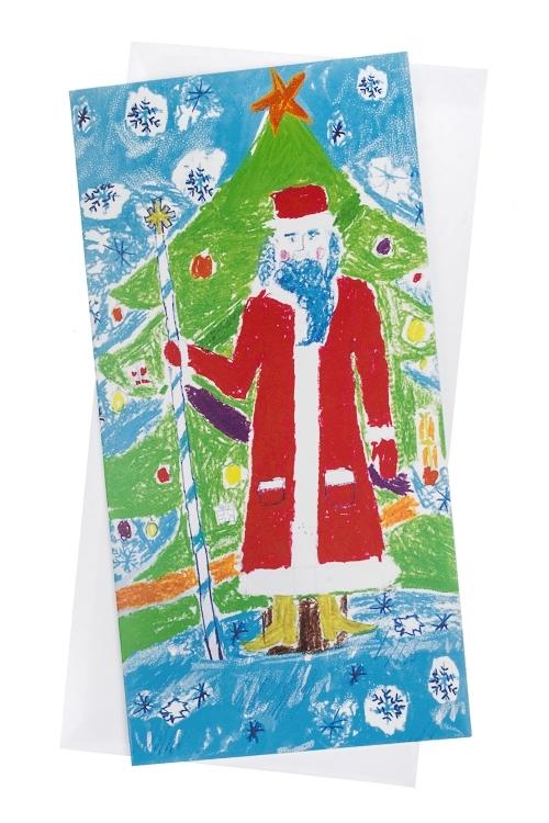 Открытка подарочная новогодняя Дед МорозСувениры и упаковка<br>10.5*21см, с конвертом<br>