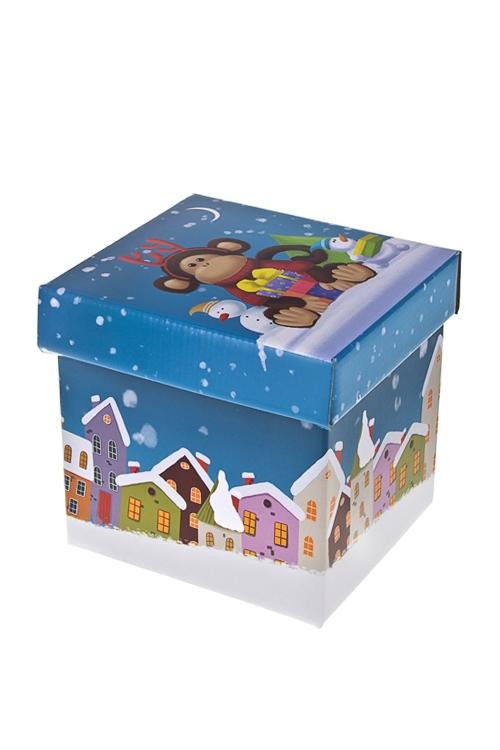 Коробка подарочная новогодняя Норвежская обезьянка с подаркомСувениры и упаковка<br>17*15*16.8см, бум.<br>