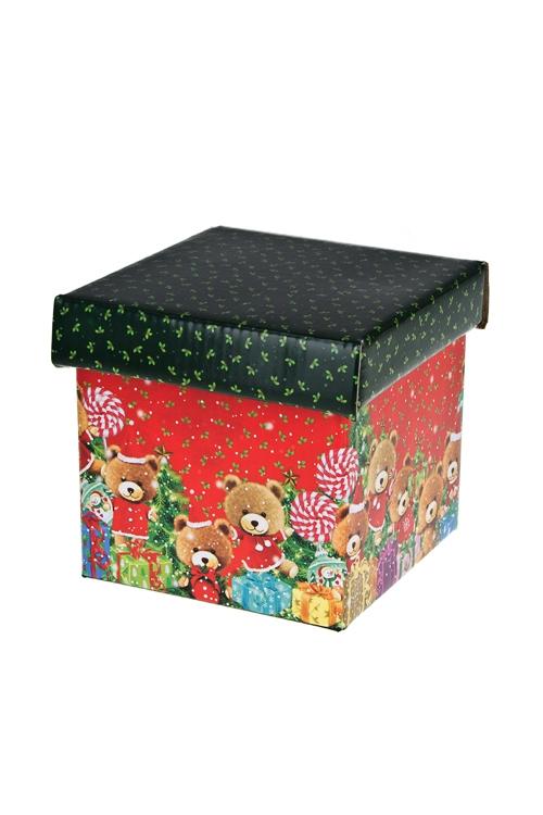 Коробка подарочная новогодняя Плюшевые мишки с елочкамиКвадратные подарочные коробки<br>21.5*21.5*21.5см, бум.<br>