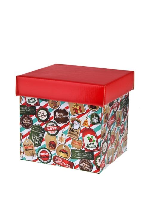 Коробка подарочная новогодняя ПечатиКвадратные подарочные коробки<br>21.5*21.5*21.5см, бум.<br>
