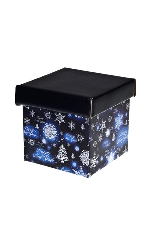 """Коробка подарочная новогодняя """"Сверкающие елочки"""" - 1"""