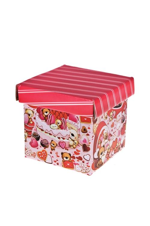 Коробка подарочная Мишки-сладкоежкиКвадратные подарочные коробки<br>21.5*21.5*21.5см, бум.<br>