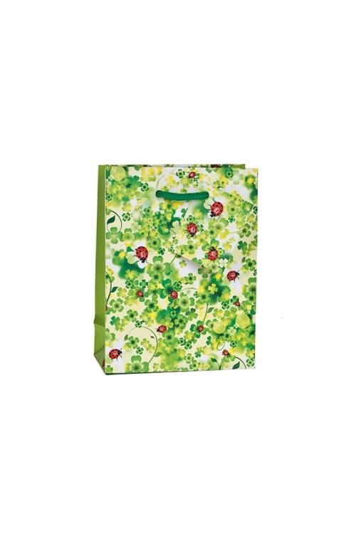 Пакет подарочный Божьи коровки на зеленомСувениры и упаковка<br>16*12*6см, бум., матовый<br>