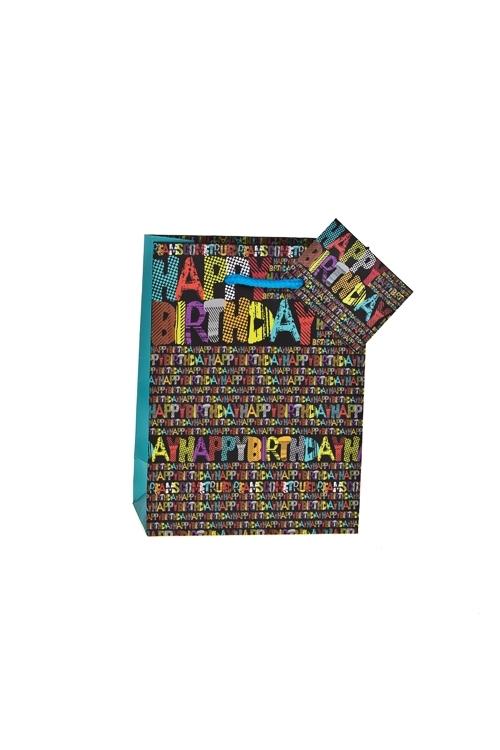 Пакет подарочный Яркие буквыПакеты «С Днем рождения»<br>16*12*6см, бум., матовый<br>