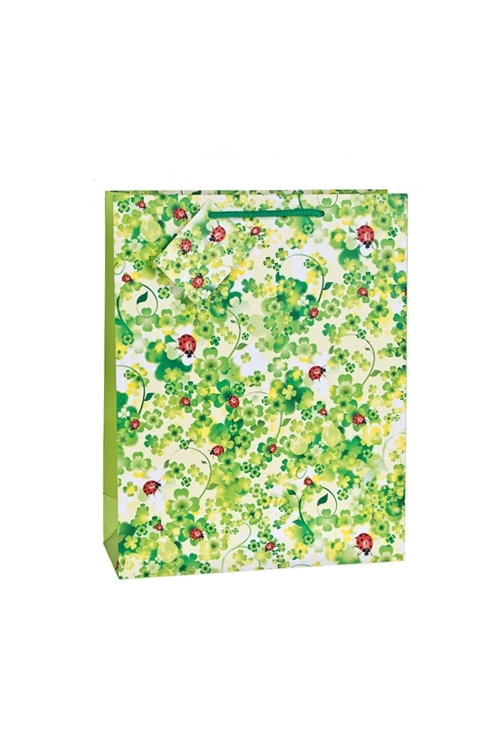 Пакет подарочный Божьи коровки на зеленомСувениры и упаковка<br>25*19*9см, бум., матовый<br>