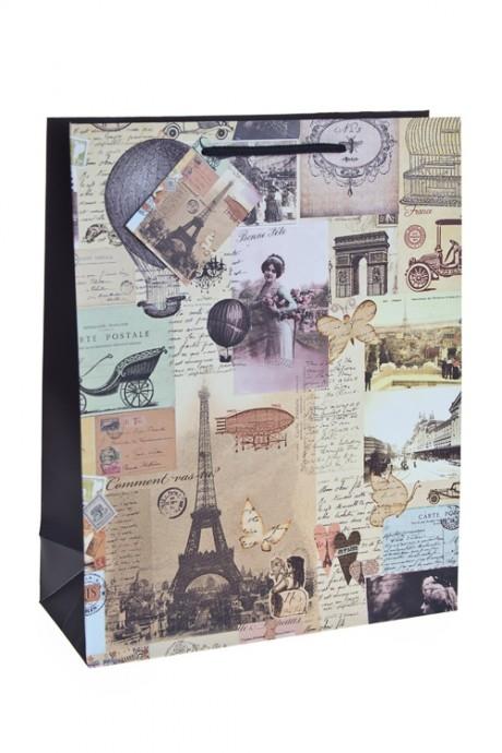 Пакет подарочный ПарижСувениры и упаковка<br>34*27*11см, бум., матовый<br>