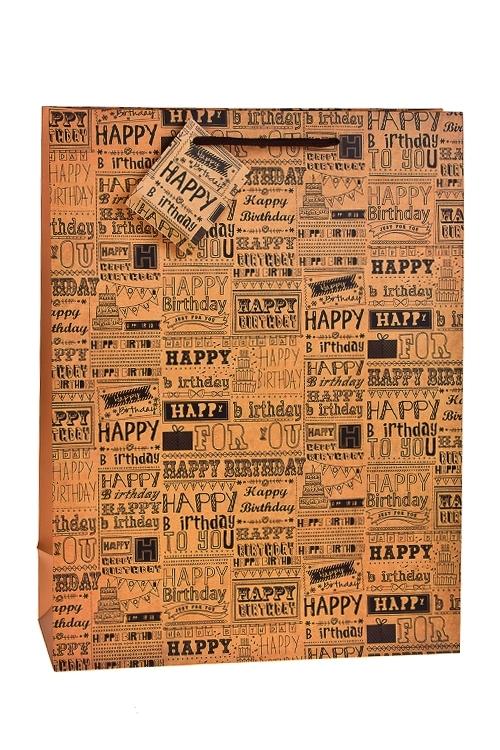 Пакет подарочный Поздравление из прошлогоСувениры и упаковка<br>41*31*12.5см, бум., матовый<br>