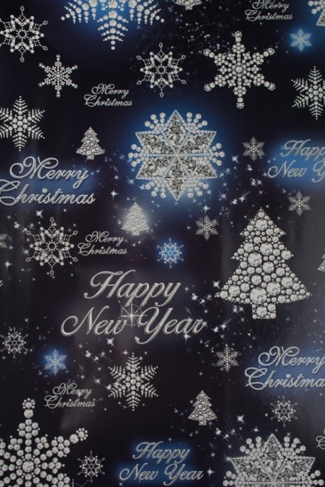 Бумага упаковочная новогодняя Сверкающие елочкиСувениры и упаковка<br>70*100см<br>