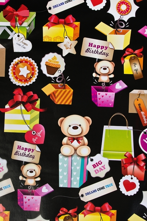 Бумага упаковочная Мишки с подаркамиПодарки на день рождения<br>70*100см<br>