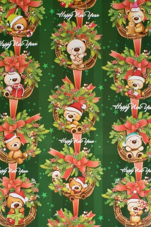 Бумага упаковочная новогодняя Подарки от мишкиСувениры и упаковка<br>70*100см<br>