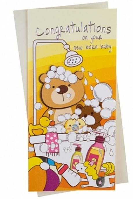 Открытка подарочная Пенная ваннаСувениры и упаковка<br>9.5*20см, бум., с конвертом<br>