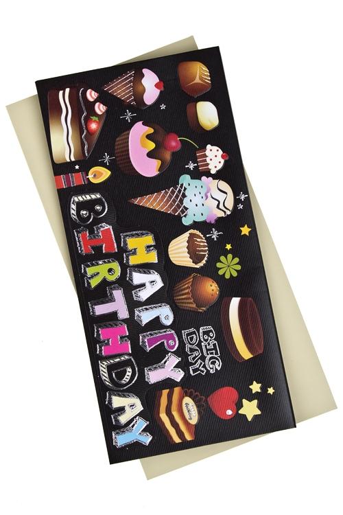 Открытка подарочная Праздничные атрибутыОткрытки «С Днем рождения»<br>9.5*20см, бум., с конвертом<br>