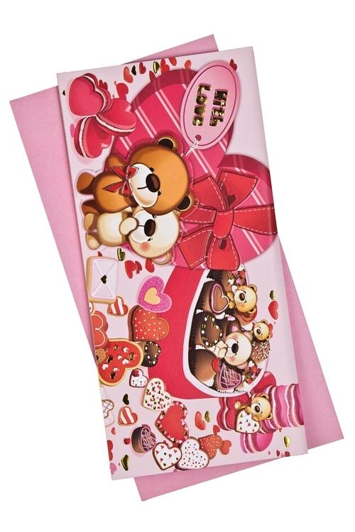 Открытка подарочная Мишки-сладкоежкиСувениры и упаковка<br>9.5*20см, бум., с конвертом<br>