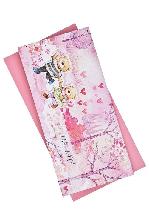 Открытка подарочная Мир влюбленныхСувениры и упаковка<br>9.5*20см, бум., с конвертом<br>
