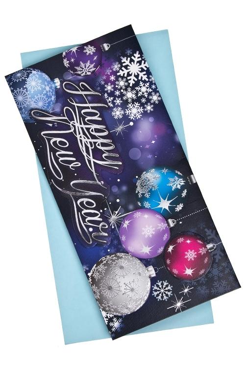 Открытка подарочная новогодняя Блестящие шарыСувениры и упаковка<br>9.5*20см, бум., с конвертом<br>