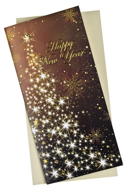 Открытка подарочная новогодняя Елочка из звездСувениры и упаковка<br>9.5*20см, бум., с конвертом<br>