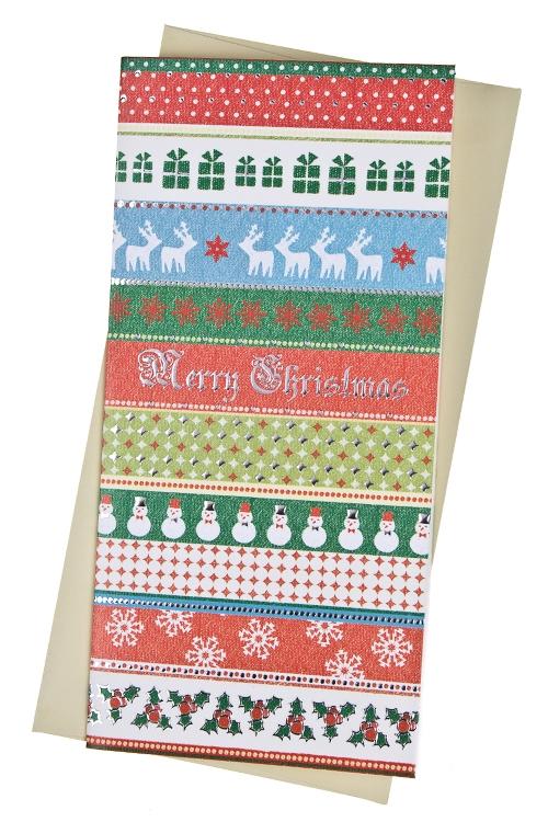Открытка подарочная новогодняя Праздничный узорОткрытки «С Новым годом и Рождеством»<br>9.5*20см, бум., с конвертом<br>