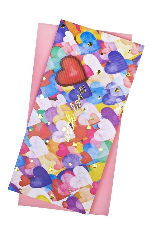 Открытка подарочная Акварельные сердца - 2Открытки про Любовь<br>9.5*20см, бум., с конвертом<br>
