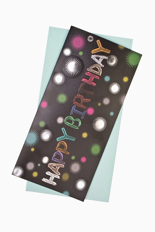 Открытка подарочная Поздравительное конфеттиОткрытки «С Днем рождения»<br>9.5*20см, бум., с конвертом<br>