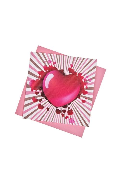 Открытка подарочная От всего сердцаОткрытки про Любовь<br>7*7см, бум., с конвертом<br>