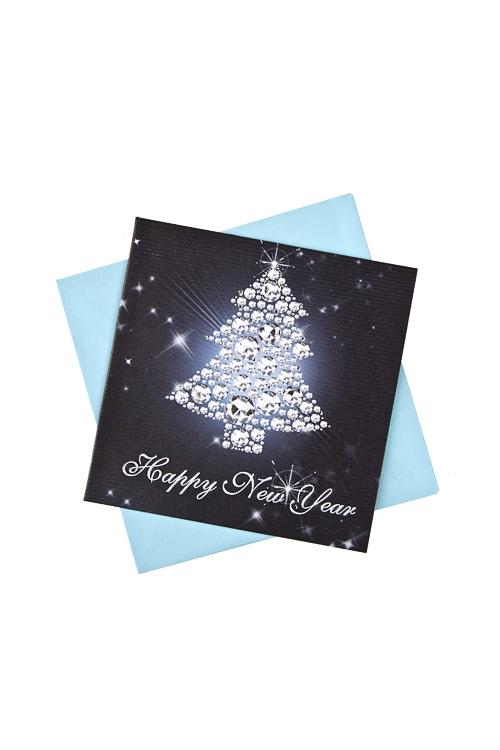 Открытка подарочная новогодняя Искрящаяся елочкаОткрытки<br>7*7см, бум., с конвертом<br>