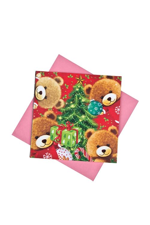 Открытка подарочная новогодняя Плюшевые мишки с елочкамиСувениры и упаковка<br>7*7см, бум., с конвертом<br>