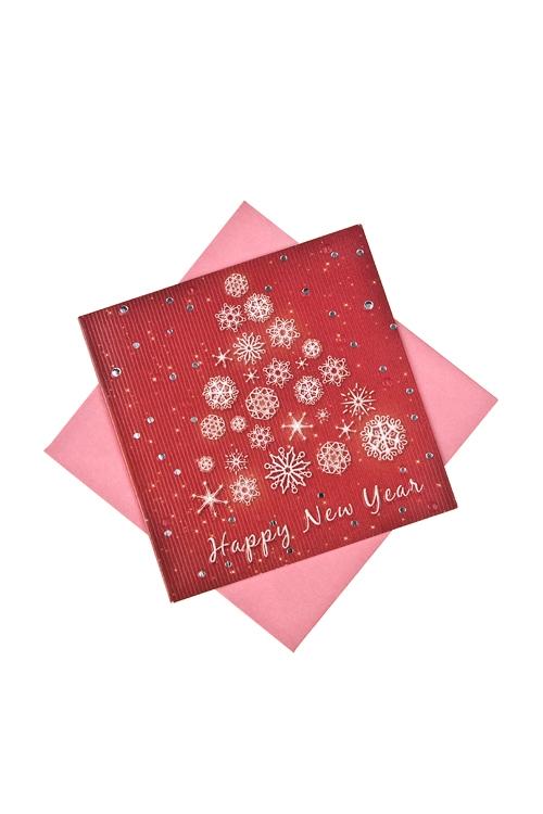 Открытка подарочная новогодняя Красная елочкаОткрытки<br>7*7см, бум., с конвертом<br>