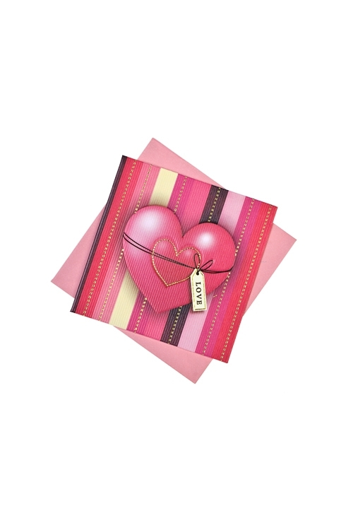 Открытка подарочная Розовое сердце - 2Открытки про Любовь<br>7*7см, бум., с конвертом<br>