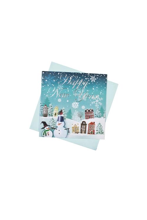 Открытка подарочная новогодняя Веселые снеговикиОткрытки<br>7*7см, бум., с конвертом<br>