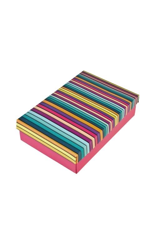 Коробка подарочная Пластилиновые полосыУзкие подарочные коробки<br>18.5*12.5*4.8см, бум.<br>