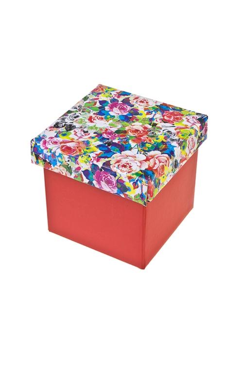 Коробка подарочная Пестрые розыКвадратные подарочные коробки<br>11*11*11см, бум.<br>