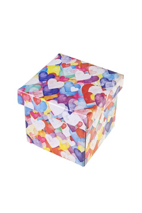 Коробка подарочная Акварельные сердца - 2Квадратные подарочные коробки<br>11*11*11см, бум.<br>