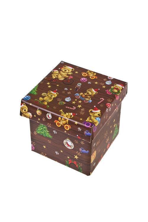 Коробка подарочная новогодняя Праздничные мишкиСувениры и упаковка<br>11*11*11см, бум.<br>