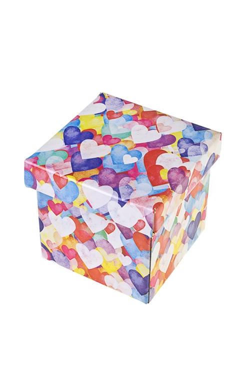 Коробка подарочная Акварельные сердца - 2Квадратные подарочные коробки<br>17*15*16.8см, бум.<br>