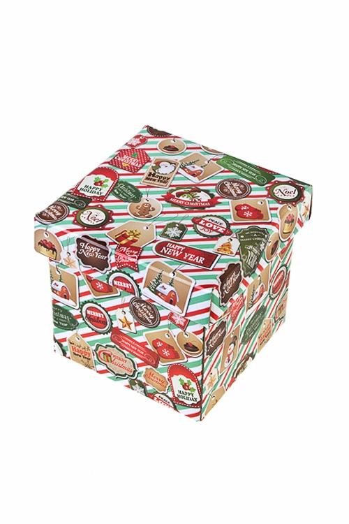 Коробка подарочная новогодняя Новогодние печатиСувениры и упаковка<br>17*15*16.8см, бум.<br>