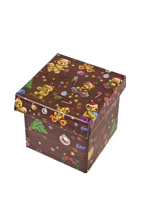 Коробка подарочная новогодняя Праздничные мишкиСувениры и упаковка<br>17*15*16.8см, бум.<br>