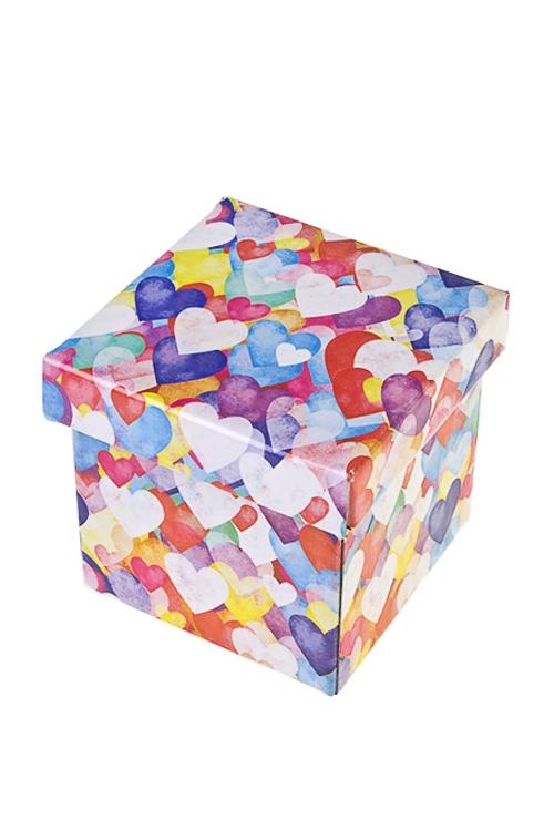 Коробка подарочная Акварельные сердца - 2Сувениры и упаковка<br>21.5*21.5*21.5см, бум.<br>