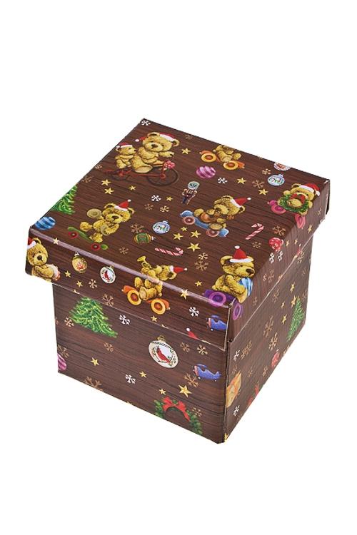 Коробка подарочная новогодняя Праздничные мишкиКвадратные подарочные коробки<br>21.5*21.5*21.5см, бум.<br>
