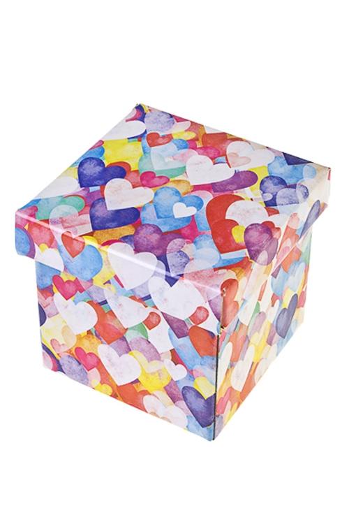 Коробка подарочная Акварельные сердца - 2Квадратные подарочные коробки<br>26*26*26см, бум.<br>