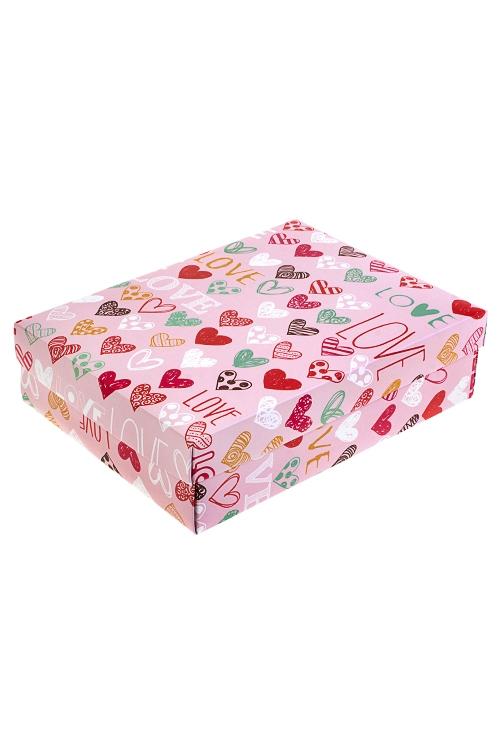 Коробка подарочная Цветные сердцаУзкие подарочные коробки<br>18.5*12.5*4.8см, бум.<br>