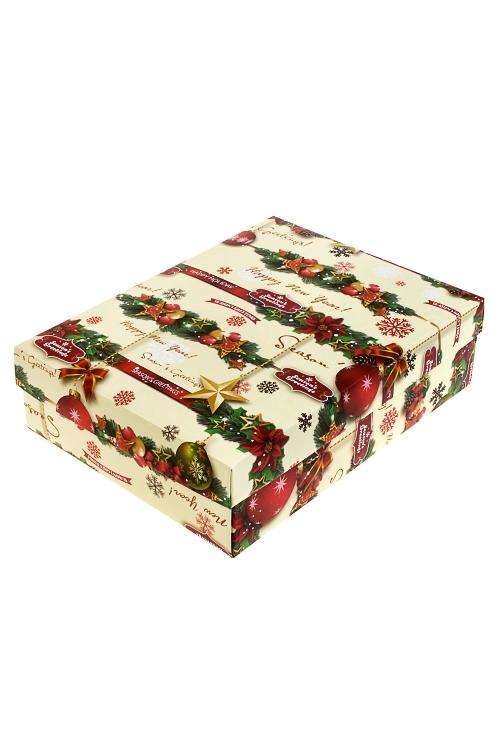Коробка подарочная новогодняя Елочные игрушкиУзкие подарочные коробки<br>18.5*12.5*4.8см, бум.<br>