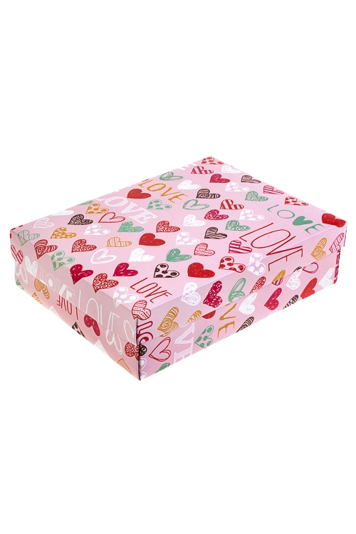 Коробка подарочная Цветные сердцаУзкие подарочные коробки<br>27*20.5*6.8см, бум.<br>