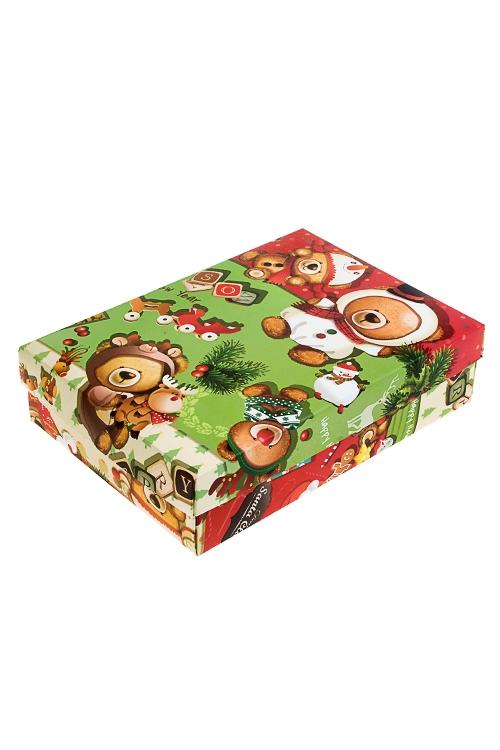 Коробка подарочная новогодняя Праздничные медвежатаУзкие подарочные коробки<br>27*20.5*6.8см, бум.<br>