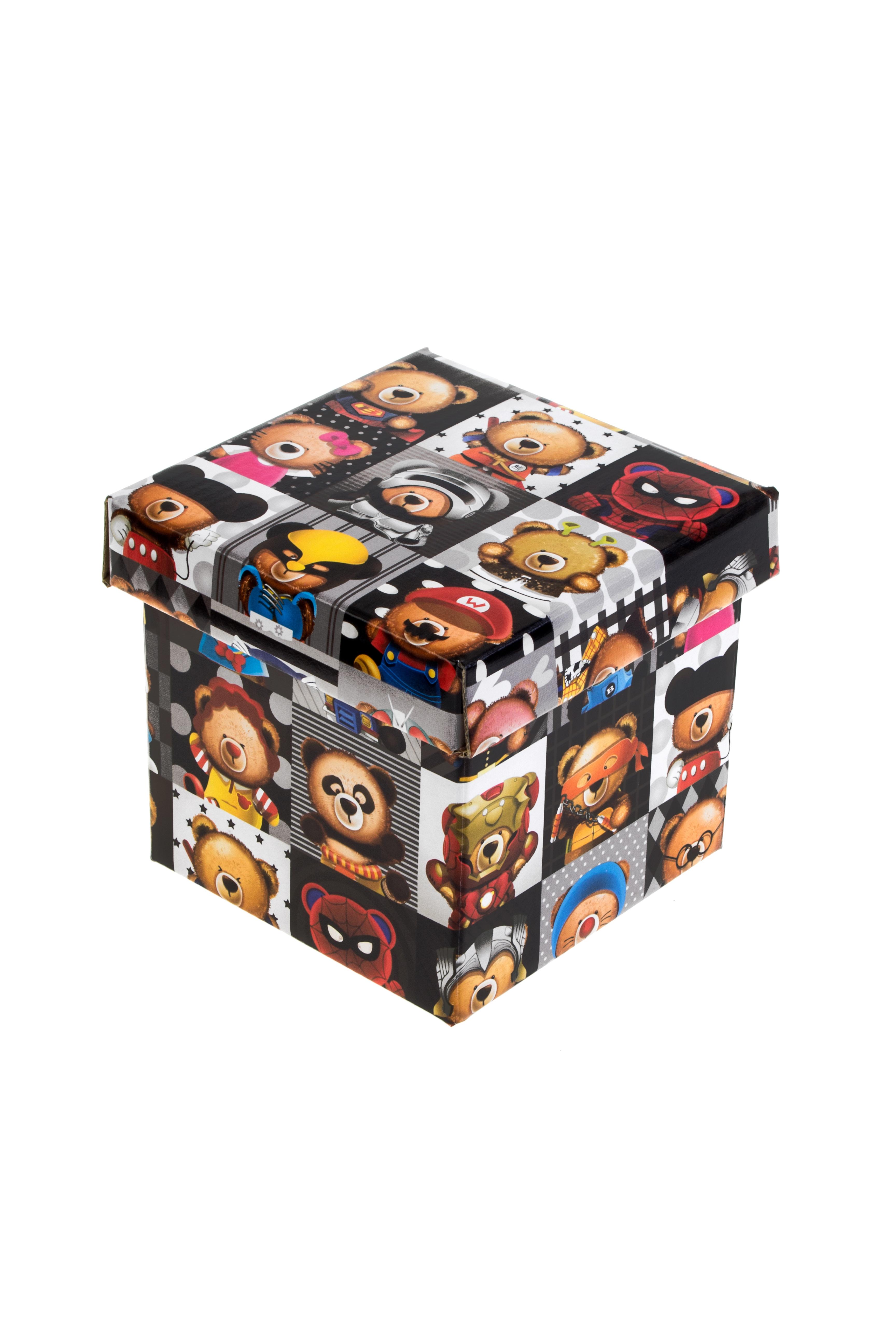 Коробка подарочная Супер-мишкаКвадратные подарочные коробки<br>11*11*11см, бум.<br>