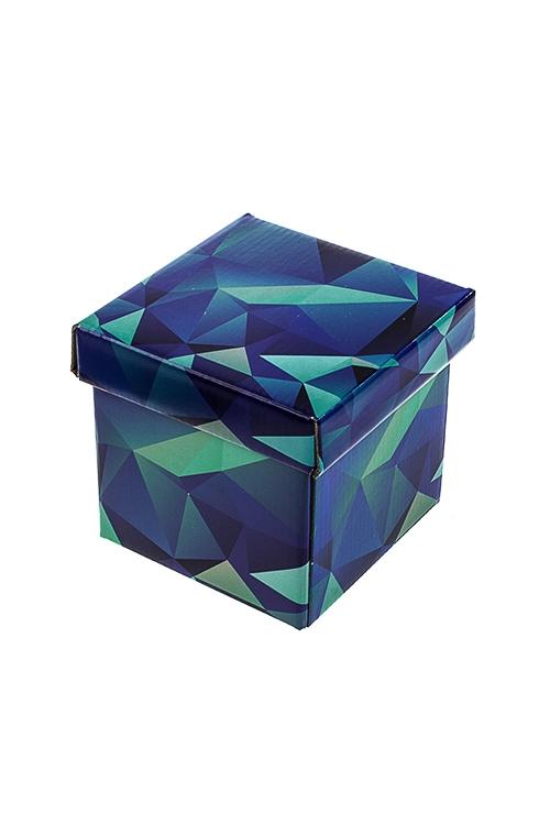 Коробка подарочная ГеометрияСувениры и упаковка<br>11*11*11см, бум., синяя<br>