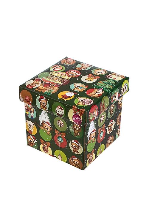 Коробка подарочная новогодняя Веселые медвежатаСувениры и упаковка<br>11*11*11см, бум.<br>