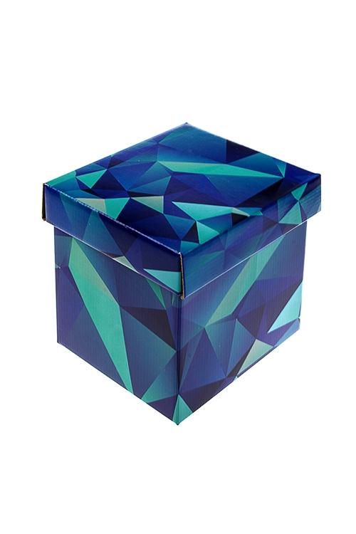 Коробка подарочная ГеометрияСувениры и упаковка<br>17*15*16.8см, бум., синяя<br>