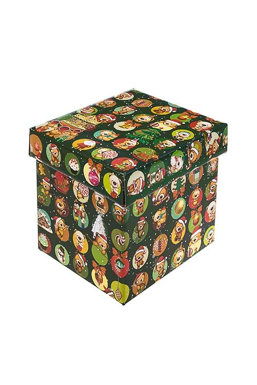 Коробка подарочная новогодняя Веселые медвежатаСувениры и упаковка<br>17*15*16.8см, бум.<br>