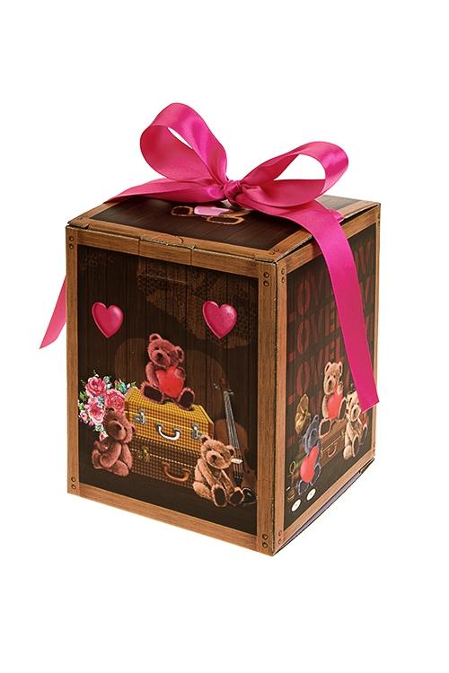 Коробка подарочная С любовьюСувениры и упаковка<br>12*12*14.5см, бум., с лентой<br>