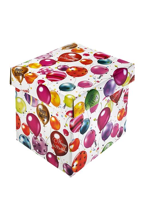 Коробка подарочная Воздушное поздравлениеКвадратные подарочные коробки<br>21.5*21.5*21.5см, бум.<br>